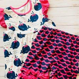 Boutique Short Set, Whale, Ruffle Bottoms